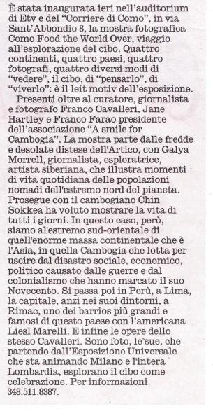 2015 08 06 Articolo Corriere Sera Food the World Over (1)