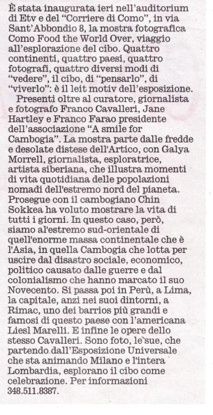2015 08 06 Articolo Corriere Sera Food the World Over (1)